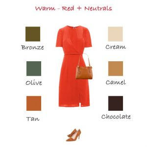 Colours to wear with warm red