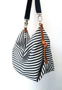 Navy/White Striped Bag