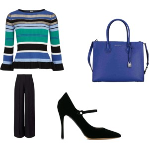 Blue striped jumper outfit