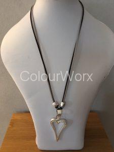 Long heart necklace on black/Grey leather cord £9.95