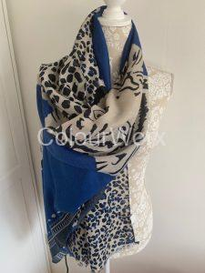Scarf Bright Blue with Tiger print