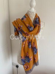 Scarf Mustard with blue flowers £15.00