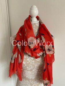 Scarf Red with Cream Poppies