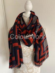 Scarf Red & Navy