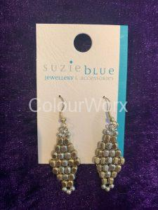 Silver & Gold diamond shaped earrings