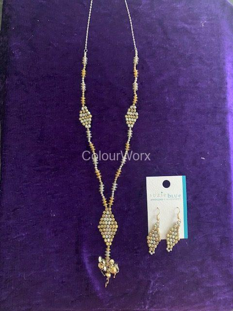 Silver & Gold diamond tassel necklace