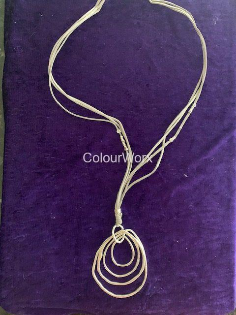 Silver four ovals necklace