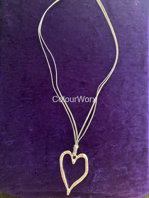 Silver upright heart necklace