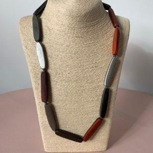 Orange & Grey Bar wooden necklace