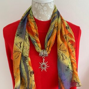 Red Stone Scarf Toggle on a dress