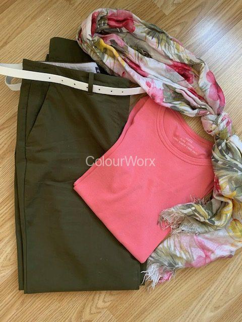 Warm pink and green